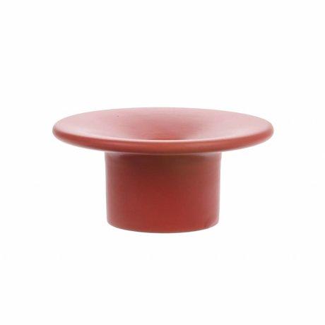 HK-living Kerzenhalter aus matt roter Keramik 10,5x10,5x5 cm