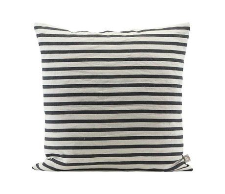 Housedoctor Cushion cover Stripe black gray linen 60x60cm