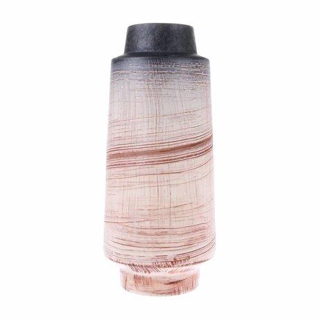 HK-living Vaas bruin naturel keramiek 15,5x15,5x38cm