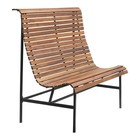 Housedoctor Banc de jardin Train fer brun bois 120x45x120cm