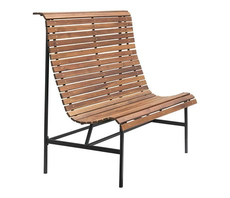Housedoctor Garden bench Train brown wood iron 120x45x120cm