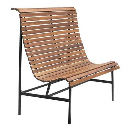 Housedoctor Gartenbank Zug braun Holz Eisen 120x45x120cm