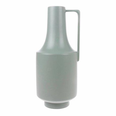 HK-living Vase avec poignées menthe vert céramiques 19x19x41cm