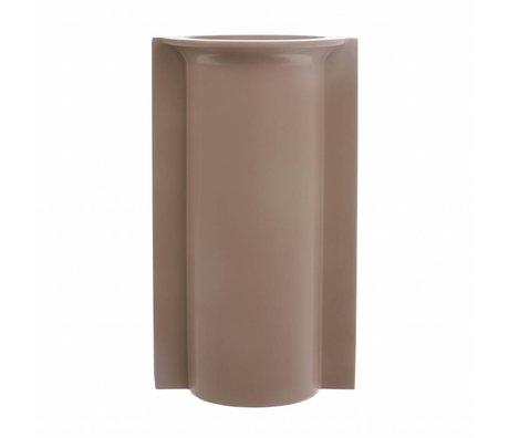 HK-living Vase L with mold matt mocha ceramics 14,5x13x25,5cm