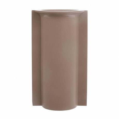 HK-living Vase L with mold matte mocha ceramic 14.5x13x25.5cm