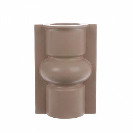 HK-living Vase M mit Form matt Mokka Keramik 13x10,5x19cm
