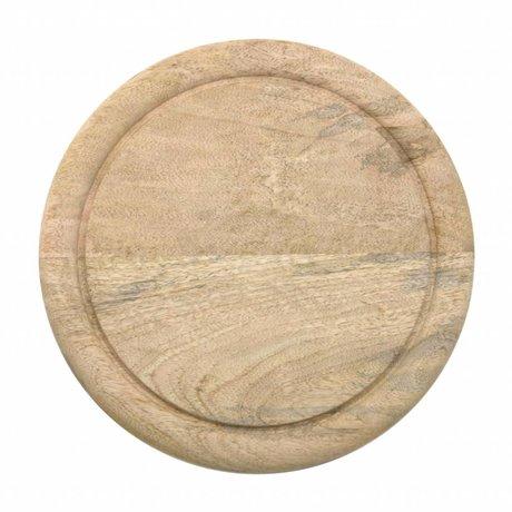 HK-living Planche à pain marron naturel mangue bois 25x25x2cm