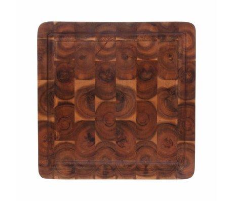 HK-living Planche à découper carrée en bois d'acacia marron 30x30x3cm