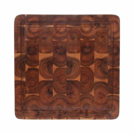 HK-living Snijplank vierkant bruin acacia hout 30x30x3cm