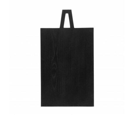 HK-living Planche à pain carré L noir sungkai bois 45x25x1,3cm