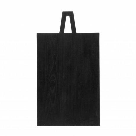 HK-living Planche à pain carré L noir bois de sungkai 45x25x1,3cm
