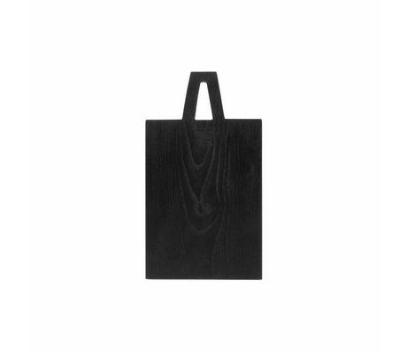 HK-living Planche à pain carré S noir sungkai bois 30x17x1,5cm