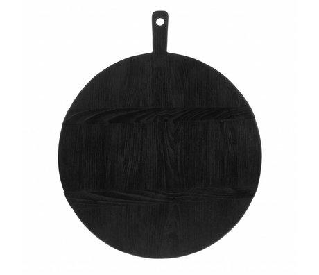 HK-living Planche à pain ronde L bois de sungkai noir 46,5x49,5x1,6 cm