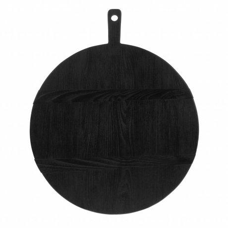 HK-living Planche à pain ronde L noir sungkai bois 46,5x49,5x1,6cm