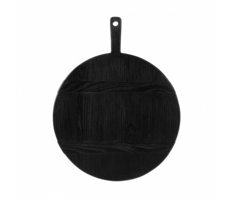 HK-living Steckbrett rund M schwarz Sungkai Holz 46x35,5x1,6 cm