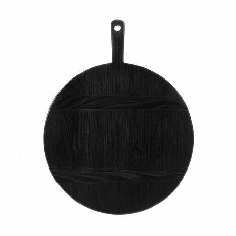 HK-living Planche à pain ronde M noir sungkai bois 46x35,5x1,6cm