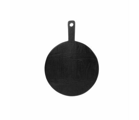 HK-living Breadboard rund S schwarz sungkai Holz 31,5x23x1,6cm