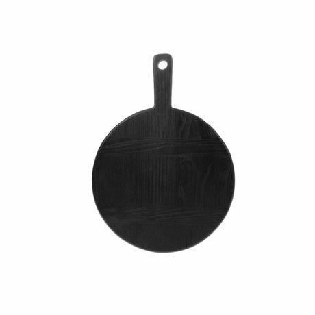 HK-living Planche à pain ronde S noir sungkai bois 31,5x23x1,6cm