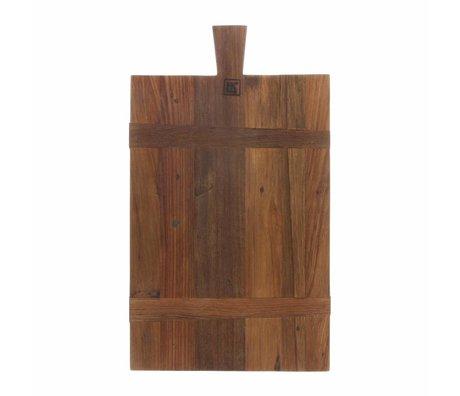 HK-living Table à pain carrée M marron recyclé teck 31,5x54x1,5cm
