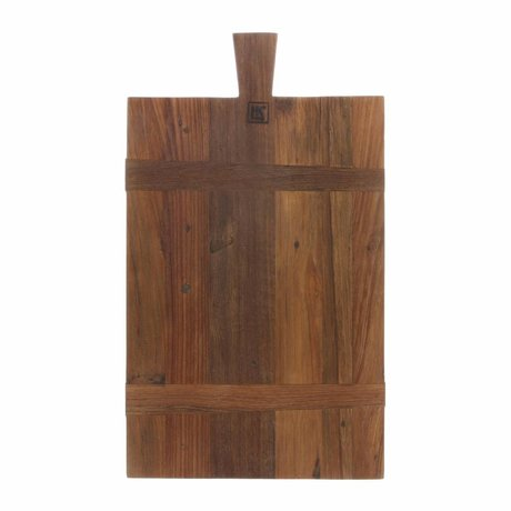 HK-living Broodplank vierkant M bruin gerecycled teakhout 31,5x54x1,5cm