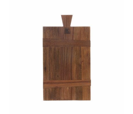 HK-living Broodplank vierkant S bruin gerecycled teakhout 21x37,5x1,5cm