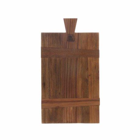 HK-living Planche à pain carrée S teck recyclé brun 21x37,5x1,5cm