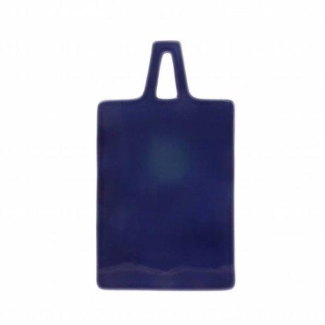 HK-living Planche à découper en céramique bleu cobalt 17x30x1cm