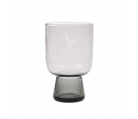 HK-living Trinkglas L Rauchgraues Glas graviert 7,5x7,5x12,5cm