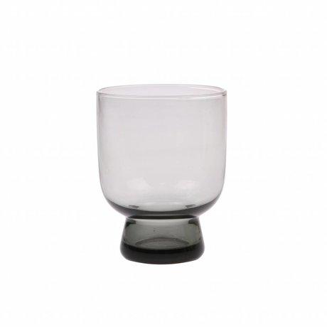 HK-living drinkglas M smoked grijs glas  7,5x7,5x9,5cm