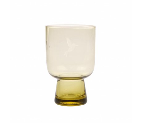 HK-living drinking glass L chartreuse yellow glass engraved 7,5x7,5x12,5cm