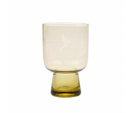 HK-living verre à boire L chartreuse verre jaune gravé 7,5x7,5x12,5cm