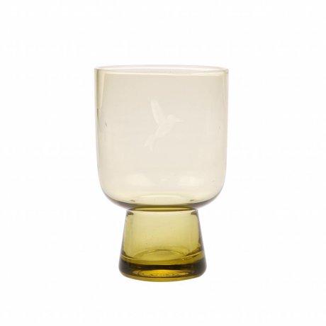 HK-living drinkglas L chartreuse geel glas gegraveerd  7,5x7,5x12,5cm