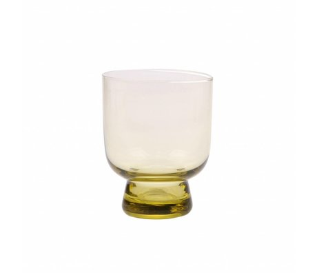 HK-living drinking glass M chartreuse yellow 7,5x7,5x9,5cm