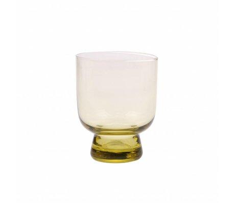 HK-living Trinkglas M Chartreuse gelb 7,5x7,5x9,5cm