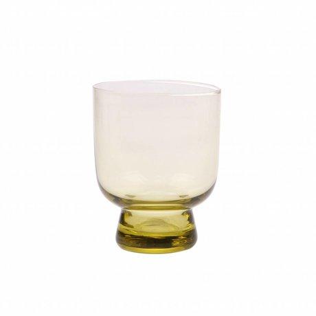 HK-living drinkglas M chartreuse geel  7,5x7,5x9,5cm