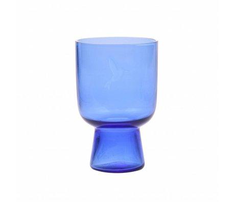 HK-living drinkglas L kobalt blauw glas gegraveerd  7,5x7,5x12,5cm