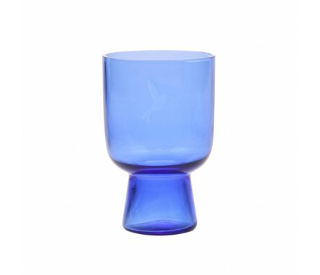 HK-living drinking glass L cobalt blue glass engraved 7,5x7,5x12,5cm