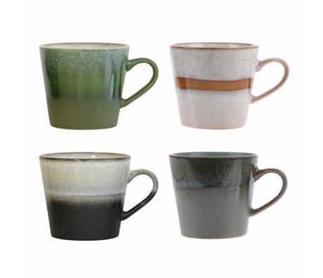 HK-living Cappuccino Becher Keramik 70er Jahre Stil 4er Set