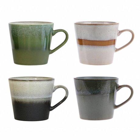 HK-living cappuccino mokken keramiek 70's style set van 4