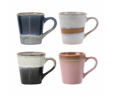 HK-living espresso mokken keramiek 70's style set van 4
