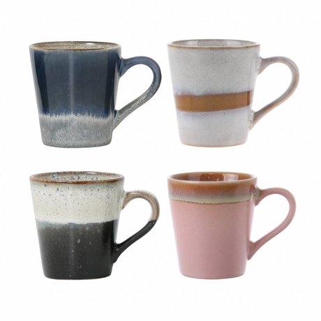 HK-living expresso mugs céramiques style des années 70 set de 4