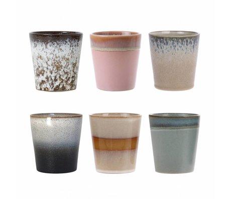 HK-living ensemble de 6 tasses en céramique style années 70
