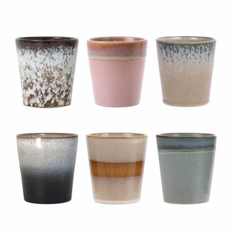 HK-living Lot de 6 tasses en céramique style années 70