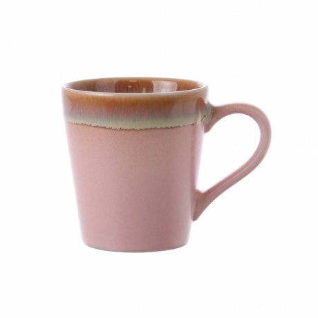 HK-living espresso mok pink keramiek '70's style 5,8x8x6,2cm