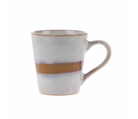 HK-living espresso mok snow keramiek '70's style 5,8x8x6,2cm