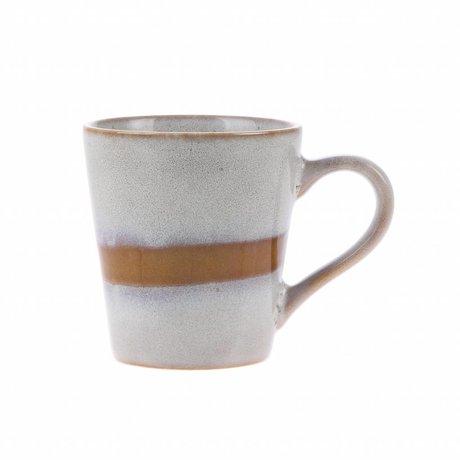 HK-living Espresso Becher Schnee Keramik '70er Jahre Stil 5,8x8x6,2cm
