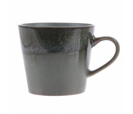 HK-living cappuccino mug moss ceramic '70's style 12x9,5x8,5cm