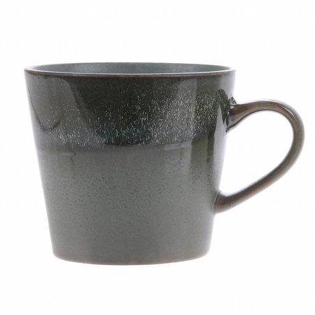 HK-living cappuccino mok moss keramiek '70's style 12x9,5x8,5cm