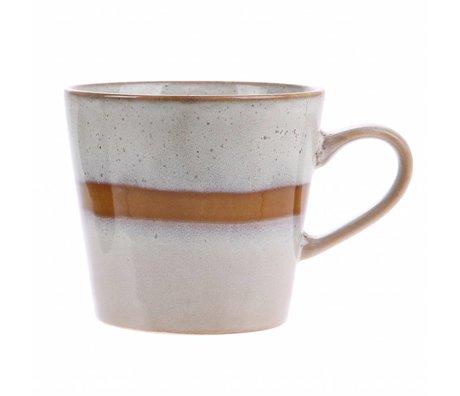 HK-living cappuccino mug snow ceramics' 70's style 12x9,5x8,5cm