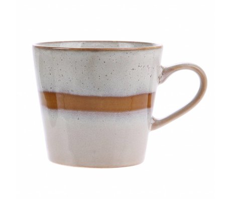 HK-living tasse de cappuccino neige en céramique style des années 70 12x9,5x8,5cm